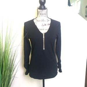 michael kors black top with gold zipper and chain